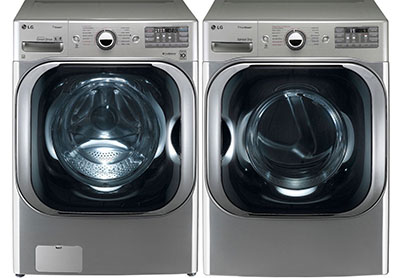 the lg graphite 51 cu ft front load steam washer and 90 cu ft steam electric dryer set comes with a large capacity drum and an innovative pallet of