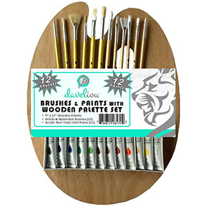 2. Paint Palette Brushes & Acrylic Paint Set