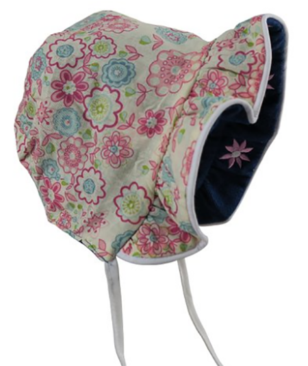 3. N'Ice Caps Baby Girls Solid to Print Reversible Sun Bonnet