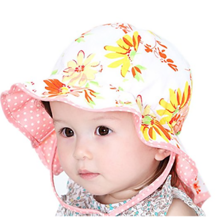 4. GZMM Baby Girls Reversible Wide Brim Sun Protection Hat