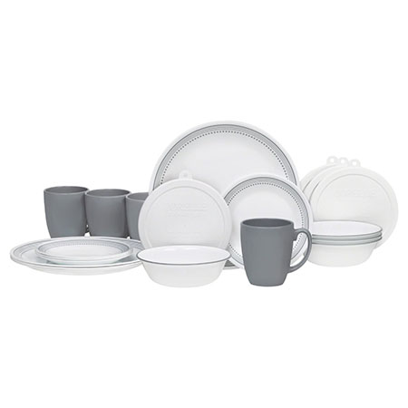 Corelle 20 Piece Living ware Dinnerware Set with Storage, Mystic Gray-Best Dinnerware Sets