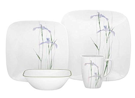 Corelle Square 16-Piece Dinnerware Set, Shadow Iris, Service for 4