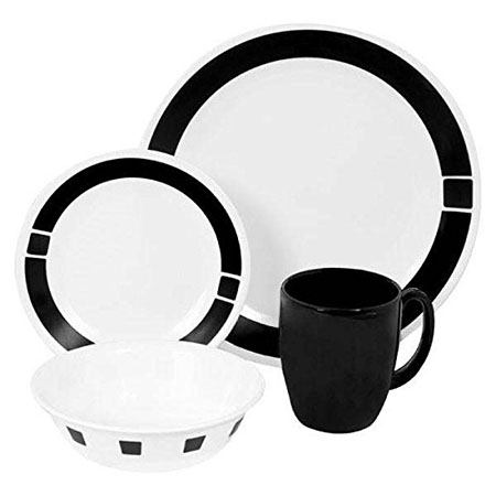 Corelle Living ware 16-Piece Dinnerware Set, Urban Black