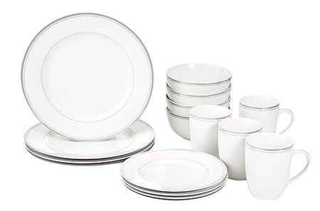 Amazon Basics 16-Piece Cafe Stripe Dinnerware Set, Service for 4 - Grey