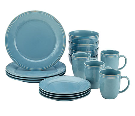 Rachael Ray 55093 Cucina 16-Piece Stoneware Dinnerware Set Agave Blue  sc 1 st  Fitzgeraldmuseum.net & Top 10 Best Dinnerware Sets in 2018 Reviews