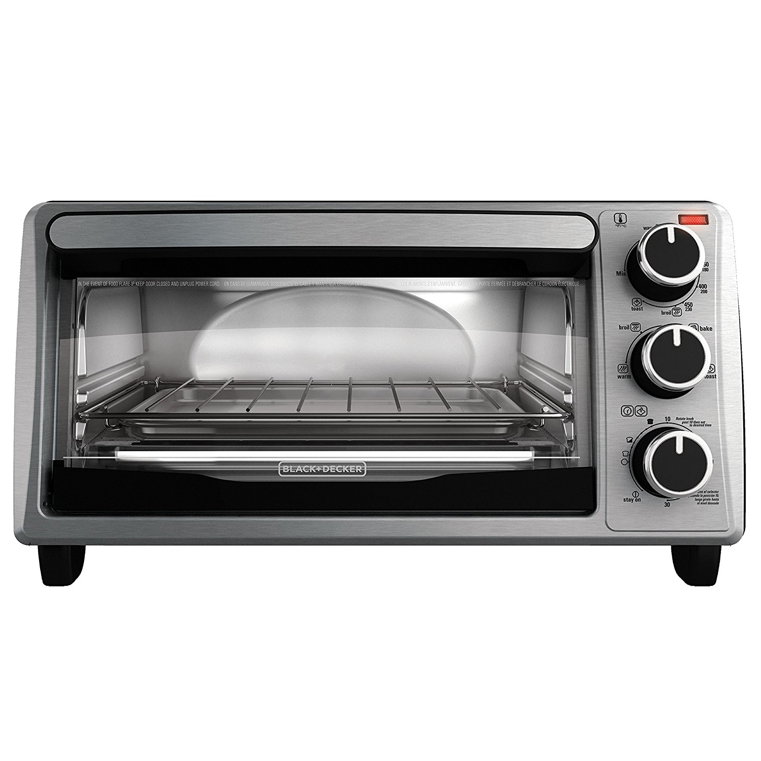 BLACK+DECKER 4-slice toaster oven, stainless steel