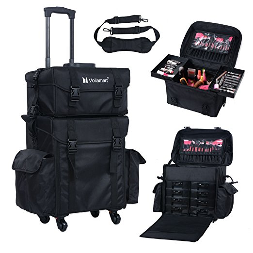 2. Voilamart Rolling Makeup Case Trolley 2 in 1 Travel Cosmetic Train Cases on Wheels - Nylon Black Bags for Professional Make Up Artist Cosmetics Storage- Best Makeup Train Cases
