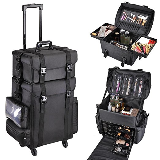 4. AW 2in1 Black Soft Sided Rolling Makeup Case Oxford Fabric Cosmetic