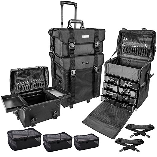 5. SHANY Cosmetics 2 Compartment Soft Black Rolling Trolley Makeup Case with Free 3 Piece Organizer Mesh Bags, 28 Inch- Best Make up Train Cases