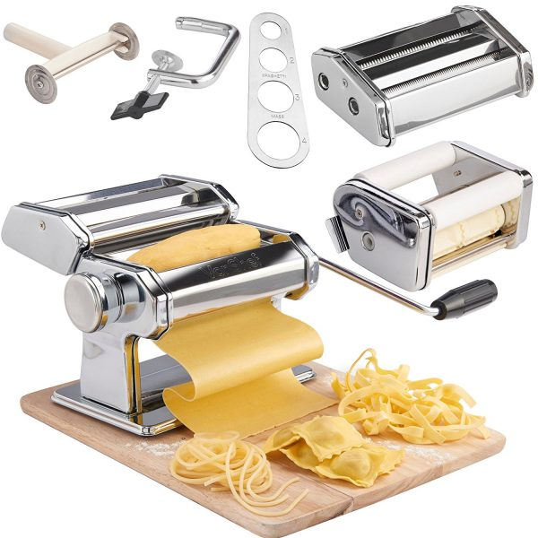 6. Vonshef 3-in-1 Stainless Steel Pasta Maker with 3 cut press blade