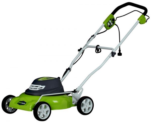 8. GreenWorks Amp Corded 18-Inch Lawn Mower