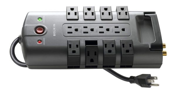4. Belkin 12-Outlet Pivot-Plug Power Strip Surge Protector