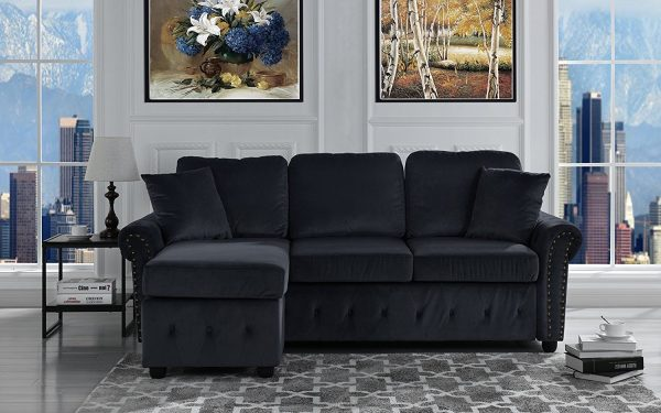 10. Furniture Mania Classic Small Space Tufted Brush Microfiber Sectional Sofa