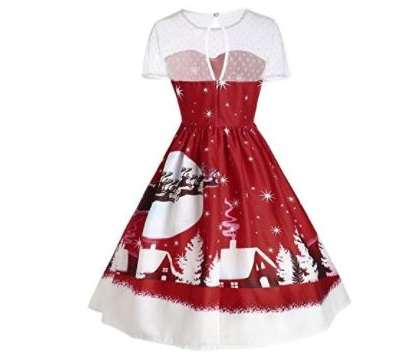 10. Chanmin Women's Vintage Christmas O-Neck Printed Short Sleeve A-Line Swing Dress