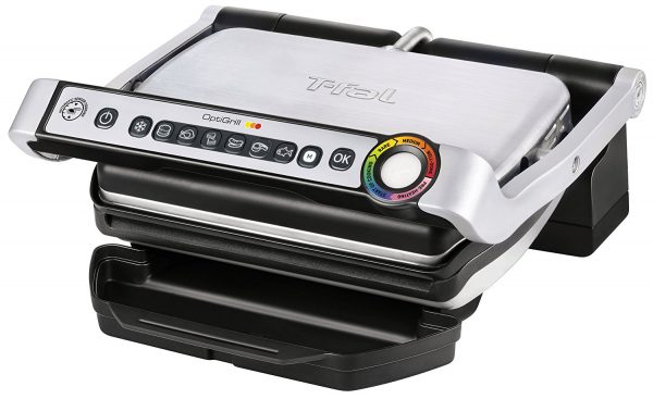 2. T-fal GC702 OptiGrill Stainless Steel Indoor Electric Grill