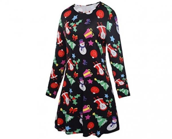 2. LaSuiveur Women's Christmas Santa Claus Print Pullover Flared A Line Dress