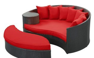 2. Modway Taiji Outdoor Wicker Patio Daybed with Ottoman in Espresso with Red Cushions