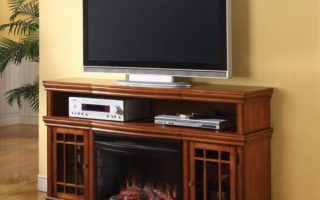 "4. Muskoka Dwyer 57"" TV Stand with Electric Fireplace Finish: Burnished Pecan"