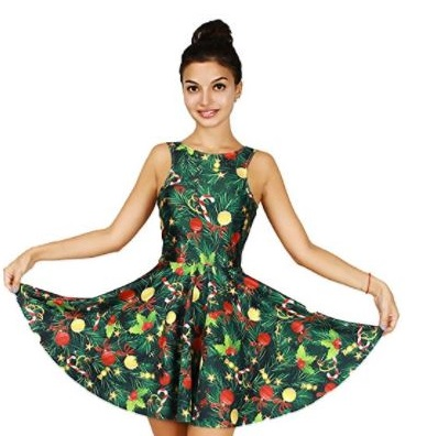 4. Jescakoo Bright Print Pleated Skater Tank Dress for Christmas Party Costume