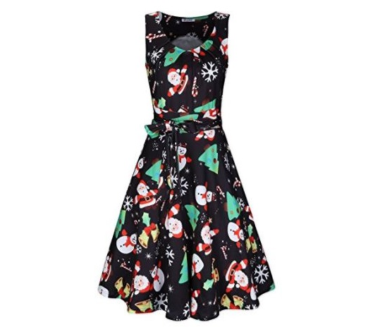 5. Kilig Women's Christmas Sleeveless Print Pleated Skater Party Cocktail Dresses With Pockets