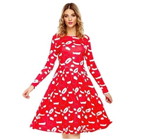 6. Elesol Women's Christmas Santa Claus Print Pullover Flared A Line Swing Dress