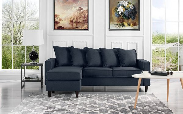 9. Modern Linen Fabric Sectional Sofa - Small Space Configurable Couch
