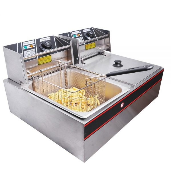 9. Yescom Commercial 12L 5000W Stainless Steel Electric Countertop Deep Fryer Dual Tank Basket