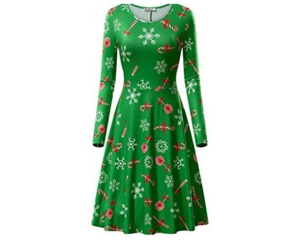 9. KIRA Womens Christmas Dress Long Sleeve Casual Aline Party Dress