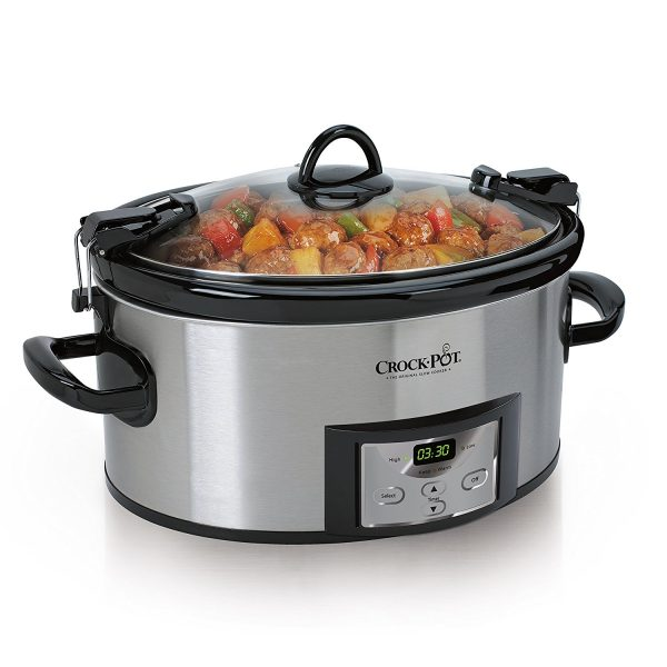 2. Crock-Pot 6-Quart Programmable Cook & Carry Slow Cooker with Digital Timer, Stainless Steel , SCCPVL610-S