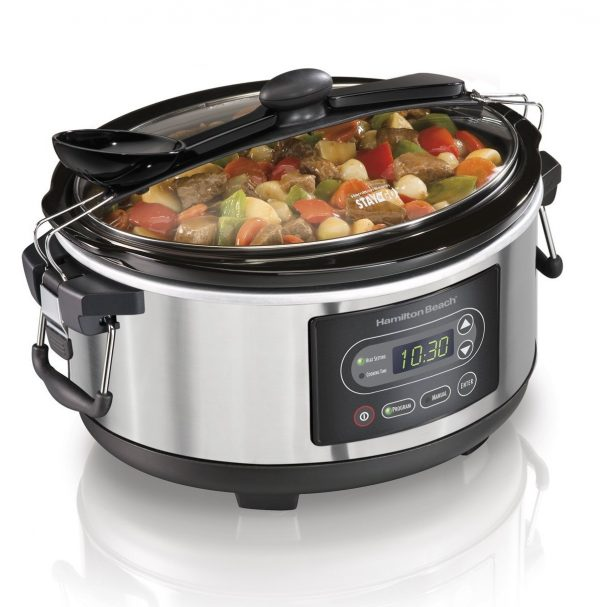 9. Hamilton Beach 33957 Programmable Stay or Go Slow Cooker, 5-Quart, Silver