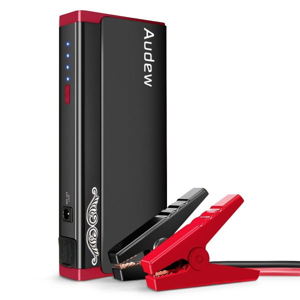 10. AUDEW Portable Car Jump Starter with Aluminum Alloy Shel