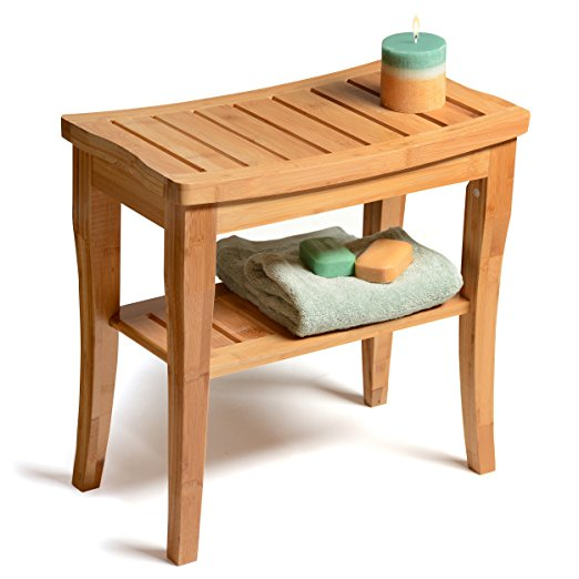 1. Bamboo Shower Bench with Storage Shelf, Bath Seat Bench Stool Perfect for Indoor or Outdoor Use. By Bambüsi