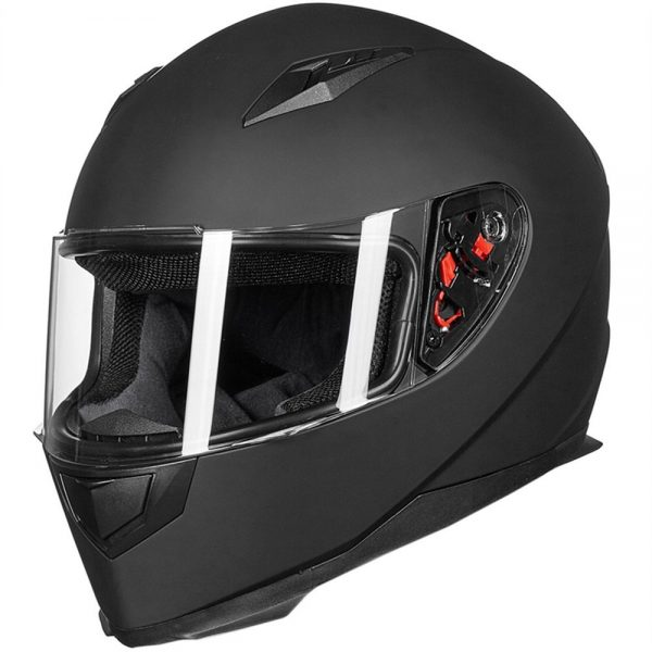 1. ILM Full Face Motorcycle Street Bike Helmet with Removable Winter Neck Scarf + 2 Visors DOT (L, Matte Black)
