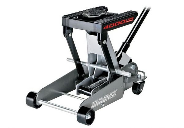 1. Powerbuilt 620422E Heavy Duty 4000 lb Triple Lift Jack- Best Motorcycle Lift Jacks