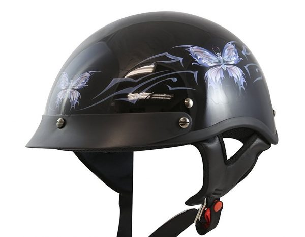 1. VCAN V531 Intricate Butterfly Gloss Black Medium Half Helmet