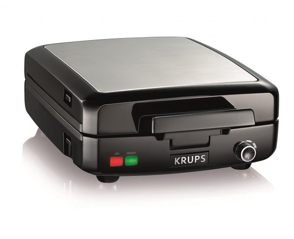 10. KRUPS GQ502D Adjustable Temperature Belgian Waffle Maker with Removable Plates, 4-Slice, Silver and Black
