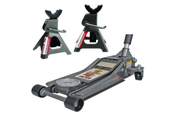 10. Pittsburg 3 Ton Low Profile Floor Jack and Jack Stands Set Combo with Rapid Pump Quick Lift