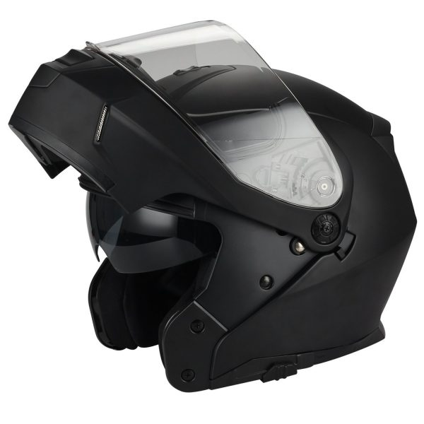 10. Traiangle Motorcycle Helmets Modular Dual Visor Flip Up [ DOT ] Matte Black