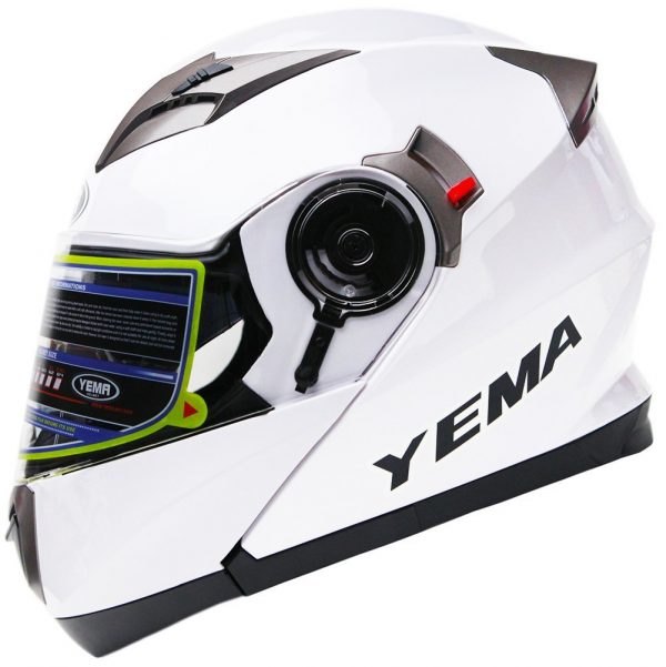 2. Motorcycle Modular Full Face Helmet DOT Approved - YEMA YM-925 Motorbike Moped Street Bike Racing Crash Helmet with Sun Visor for Adult, Men and Women - White,