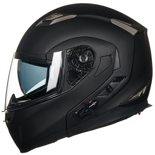 3. ILM Bluetooth Integrated Modular Flip up Full Face Motorcycle Helmet Sun Shield Mp3 Intercom (XL, MATTE BLACK)