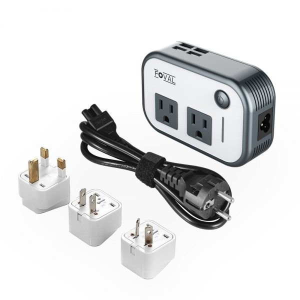 6. Foval Power Step Down 220V to 110V Voltage Converter with 4-Port USB International Travel Adapter for UK European Etc - [Use for US appliances overseas]