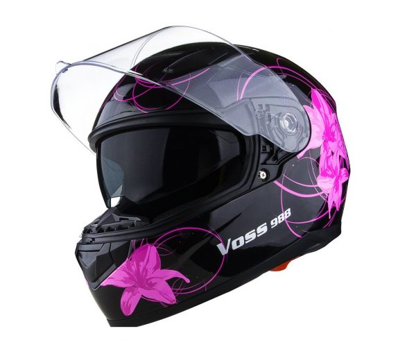 6. Voss 988 Moto-1 Lily Graphic Street Full Face Helmet with Drop Down Internal Sun Lens