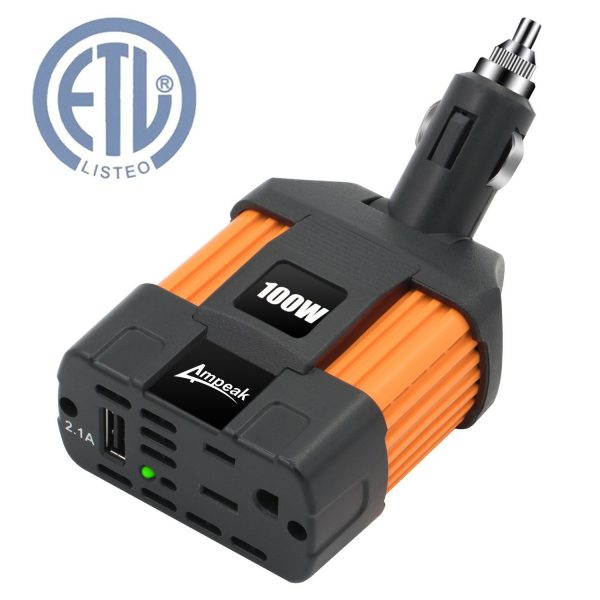 7. Ampeak 100W Car Power Inverter DC 12V to 110V AC Converter with 2.1A USB Car Charger