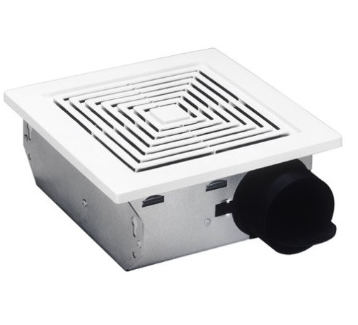 7. Broan 688 Ceiling and Wall Mount Fan, 50 CFM 4.0 Sones, White Plastic Grille