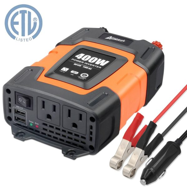 8. Ampeak 400W Power Inverter DC 12V to 110V AC Car Inverter with 3.1A Dual USB Converter