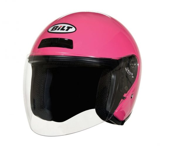 8. BILT Women's Roadster Open-Face Motorcycle Helmet - LG, Bubble Gum