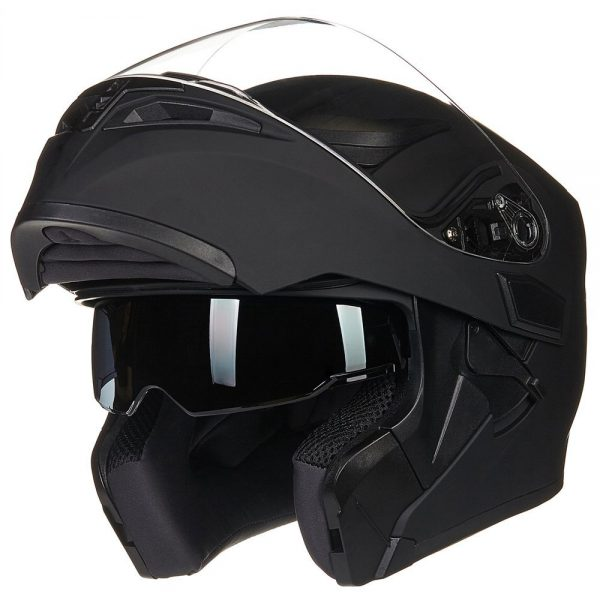 8. ILM Motorcycle Dual Visor Flip up Modular Full Face Helmet DOT with 6 Colors (L, MATTE BLACK)