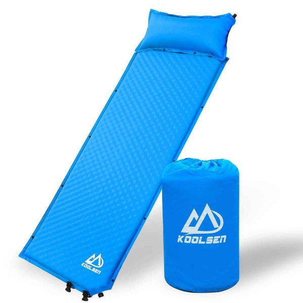 8. Koolsen Self-inflating sleeping pad for camping backpacking fishing and climbing,Lightweight Camping pad with pillow Blue