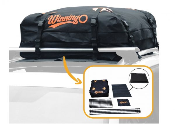 9. Cargo Bag, Winningo Waterproof Cargo Bag Easy to Install Soft Rooftop Luggage Carriers Works With or Without Roof Rack