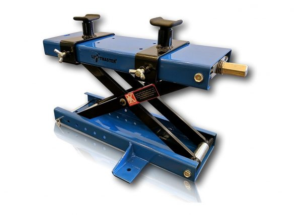 9. Liftmaster 1100 LB Motorcycle Center Scissor Lift Jack with Safety Pin Hoist Stand Bikes ATVs